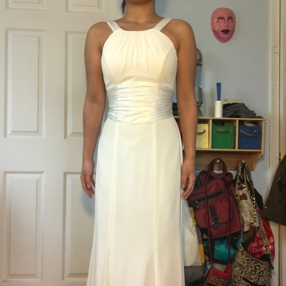 David\'s Bridal Dresses | Long White Promgraduation Dress | Poshmark
